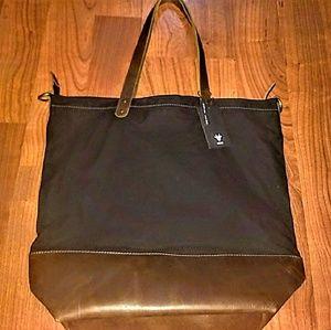 Black and brown leather and canvas Kiko bag